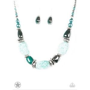 In Good Glazes Chunky Blue-Green Necklace Set